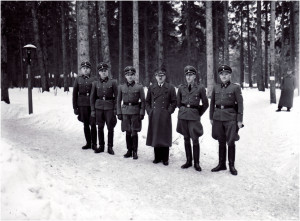 NATIONAL ARCHIVE WASHINGTON 242-HB-48400-89 HOFFMAN COLLECTION: Adolf Hitler with earliest members of his personal bodyguard unit, the SS Begleit Kommando: Bruno Gesche on Hitlers immediate left, Erich Kempka on Hitlers immediate right, Adolf Dirr, August Koerber, Franz Schaedle.